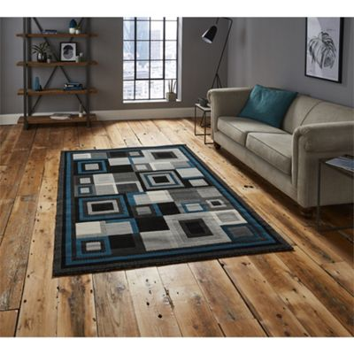 Hudson Square Black & Blue Rug - 160x220cm