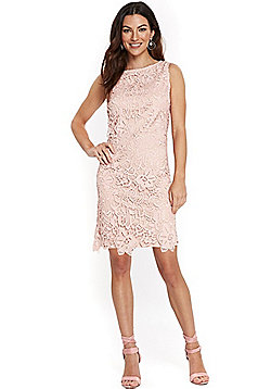 Wallis Crochet Lace Shift Dress - Blush