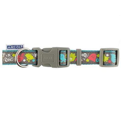 Ancol Teal Monsters Adjustable Collar - 20cm-30cm