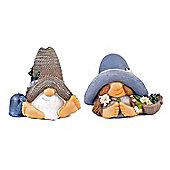 Mr & Mrs Summer Hat Resin Garden Gnome Ornaments