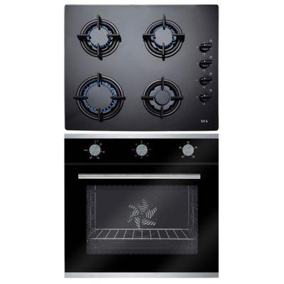 SIA 60cm Black Single Fan Oven & 4 Burner Gas on Glass Black Gas Hob + LPG Kit