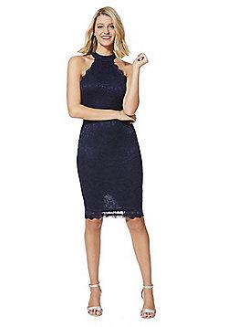 AX Paris Lace High Neck Pencil Dress - Navy