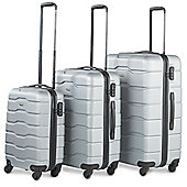 VonHaus ABS Hard Shell Luggage 4 Wheel Spinner Set of 3 Piece - Silver
