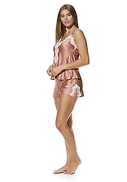 F&F Lace Trim Satin Cami and Shorts Lounge Set - Nude