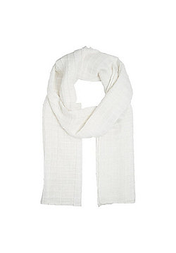 F&F Glitter Square Pleat Scarf - White