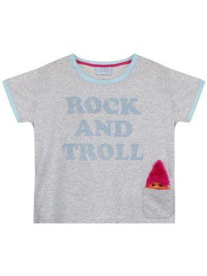 Trolls Rock And Troll Rolled Sleeve Burnout Grey Women's T-shirt