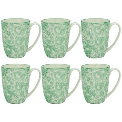 Floral Design Porcelain Tea Coffee Mug Cups Green / White 350ml x6