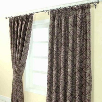 Homescapes Purple Jacquard Curtain Abstract Aztec Design Fully Lined - 66
