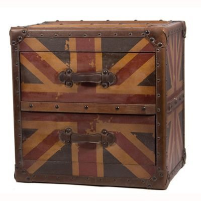 Union Jack Design 2 Drawer Wooden Unit