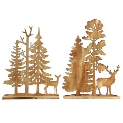 Set of 2 37cm Rustic Wood Cut-out Winter Scene Silhouette Christmas Ornaments
