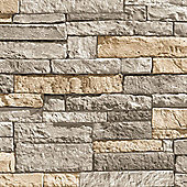 Superfresco Easy Ledgestone Paste The Wall Stone Effect Grey/Terracotta Wallpaper