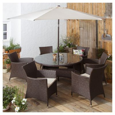 tesco corsica 8 piece rattan round garden dining set brown