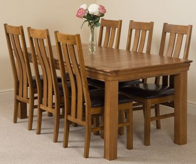 French Rustic 180cm Fixed Solid Oak Dining Table and 6 Solid Rustic Oak Chairs