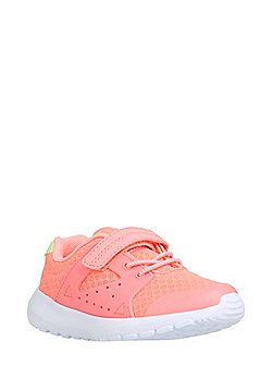 F&F Mesh Panel Elastic Laces Riptape Lightweight Trainers - Pink