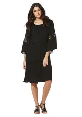Vila Lace Trim 3/4 Sleeve Dress S Black