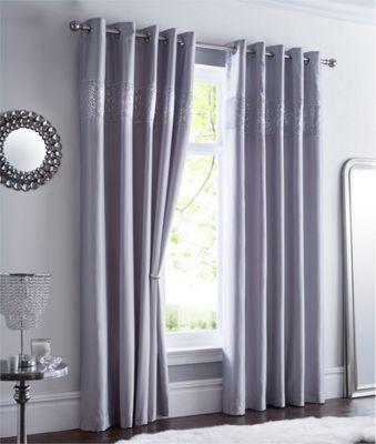 Shimmer eyelet curtains - silver - 66 x 90