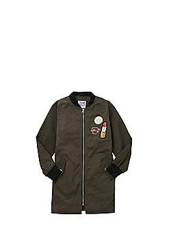 F&F Badge Long Line Bomber Jacket - Khaki