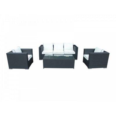 Ascot 3 Seater Sofa Set in Black and Vanilla