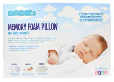 Babies Memory Foam Sleeping Pillow With Towelling Cover