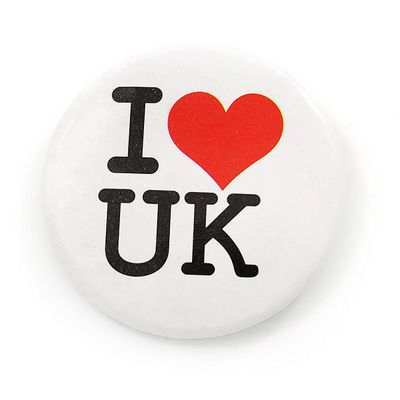 'I Heart Love UK' Lapel Pin Button Badge - 4.5cm Diameter