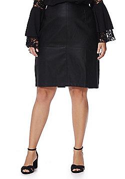 Junarose Faux Leather Pencil Plus Size Skirt - Black