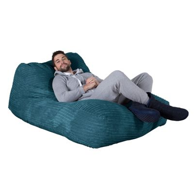 Lounge Pug® Double Day Bed Bean Bag - Cord Aegean Blue