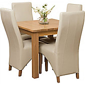 Oslo Solid Oak Square 90 cm Dining Table with 4 Lola Leather Dining chairs (Ivory)