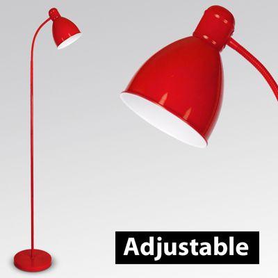 Adjustable Flexi Neck Floor Lamp, Red