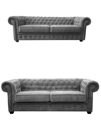 Chesterfield 3 seater + 2 Seater Sofa Fabric Grey