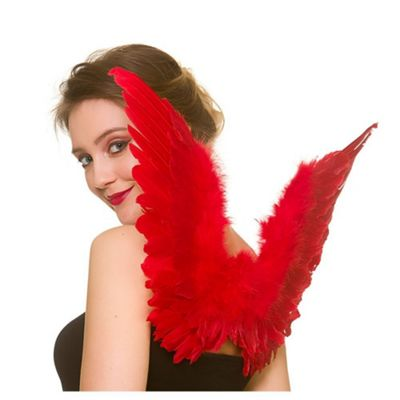 Adults Red Small Feather Angel/ Devil Wings Fancy Dress Accessory