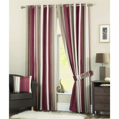 Dreams n Drapes Whitworth Claret Lined Eyelet Curtains - 66x54 Inches (168x137cm)