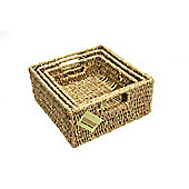 Woodluv Set Of 3 Square Storage Seagrass Baskets