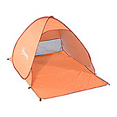 Outsunny 2 Person Pop up Beach Tent Hiking UV Protection Patio Sun Shade Shelter (Orange)