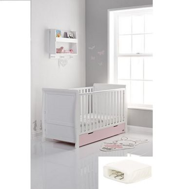 Obaby Stamford Cotbed/Drawer/Superior Hypo Allergenic Sprung Mattress - White with Eton Mess