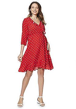 Mamalicious Polka Dot Print Maternity Wrap Dress - Red