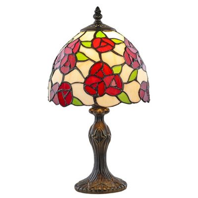 Unique Red Rose Designed Tiffany Lamp with Green Leaf Decor