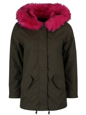 Brave Soul Women's Panther Parka With Pink Fur Lining