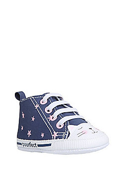 F&F Cat Face Star Print High Top Trainers - Blue