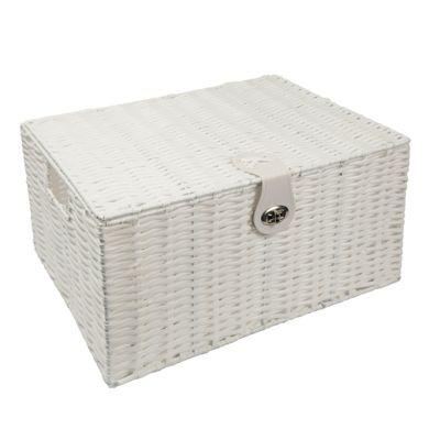 Woodluv White Resin Woven Storage Basket Lid & Lock - Extra Large