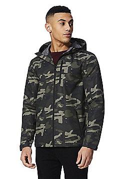 F&F Camo Print Hooded Ripstop Jacket - Green