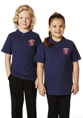 Unisex Embroidered School Polo Shirt 3-4 years Navy