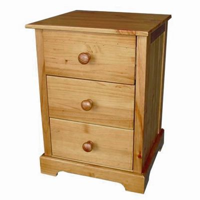 Home Zone Bedroom Atlantic 3 Drawer Bedside Table