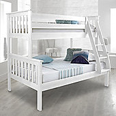 Happy Beds Atlantis White Solid Pine Wooden Triple Sleeper Bunk Bed 2 Spring Mattresses