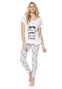 Star Wars Dark Side Slogan Pyjamas - White & Grey