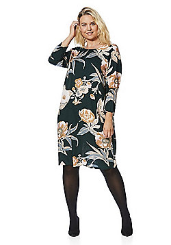 Junarose Floral Print 3/4 Sleeve Plus Size Dress - Dark green