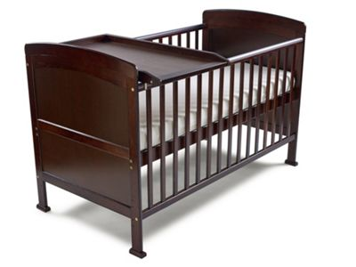 Penelope Cot Bed-Pocket Sprung Mattress-Cot Top Changer & Drawer - Walnut