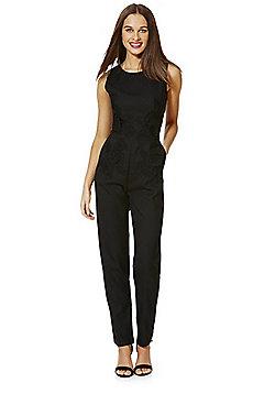 Mela London Floral Appliqué Jumpsuit - Black