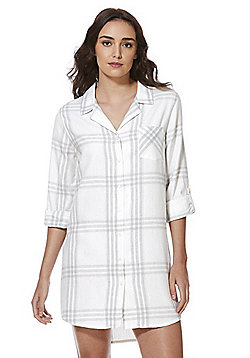 F&F Checked Flannel Nightshirt - Cream