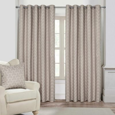 Natural Geometric Jacquard Blackout Eyelet Curtain Pair, 90 x 90