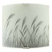 Modern Flush Frosted Glass Wall Light Fitting & Wheat Design